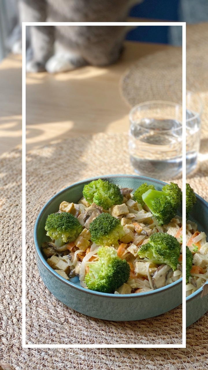 Nouilles de riz aux légumes sautés et crèmevégétale